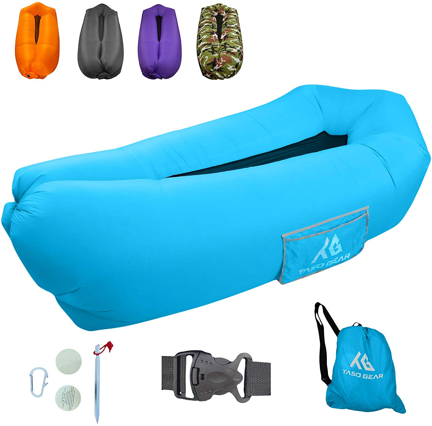Taso Gear - Inflatable Lounger Air Sofa - Ideal for Camping Hiking Traveling Beach Picnic & Music Festivals - Waterproof Pouch Couch - Portable Hammock - Upgraded Anti-Air Leaking Design Air Lounger