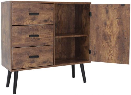 Iwell Mid-Century Storage Cabinet Bookcase | Office Cupboard