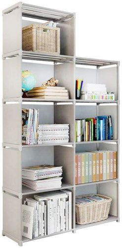 Firstry 9 Storage Cubes, 4 Tire Shelving Bookcase Cabinet | Office Cupboard