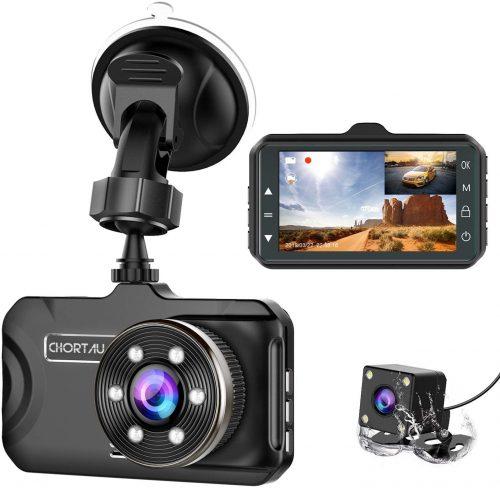 CHORTAU Dual Dash Cam 3 inch Dashboard