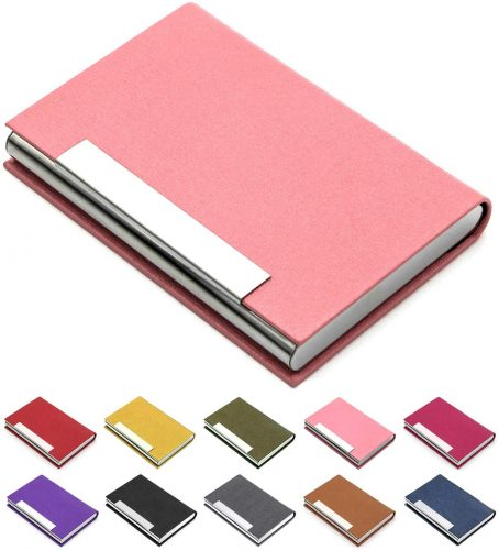 Luxury PU Pink Leather Business Card Holder For Women