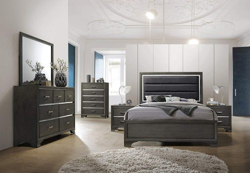 Gray wood with faux leather | King Bedroom Set