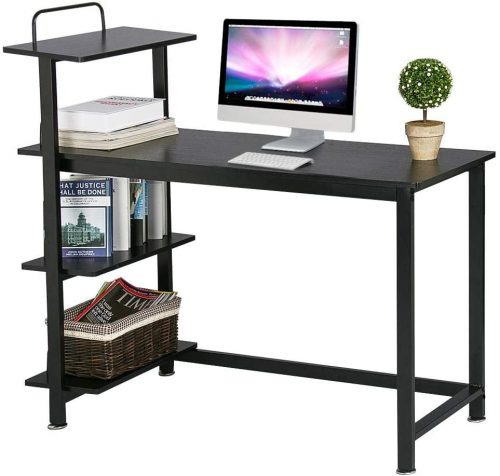 Yaheetech Home Computer Desk with 4 Tiers Shelves