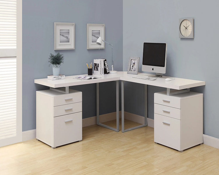 L-shaped white desk