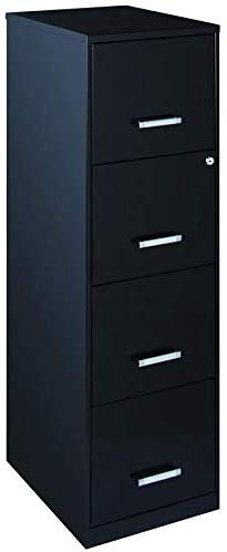 "4. 18"" Deep Light Duty 4 Drawer Metal Letter File Cabinet in Black"
