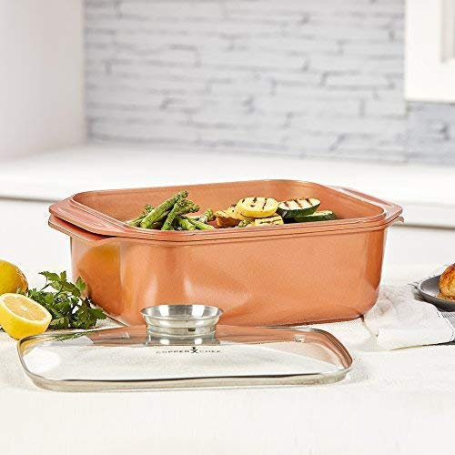 6. 14 In 1 Multi-Use Copper Chef Wonder Cooker with roasting pan and lid