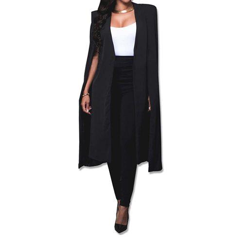 3. Women's Long Open Slit Sleeve Trench Cloak Capes| Black Blazer For Women