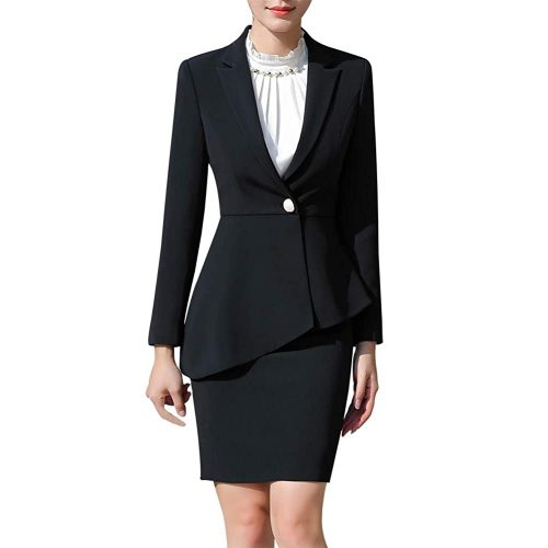 4.Lisueyne Women's Two pieces Office Lady Business Suit | Black Women Suits