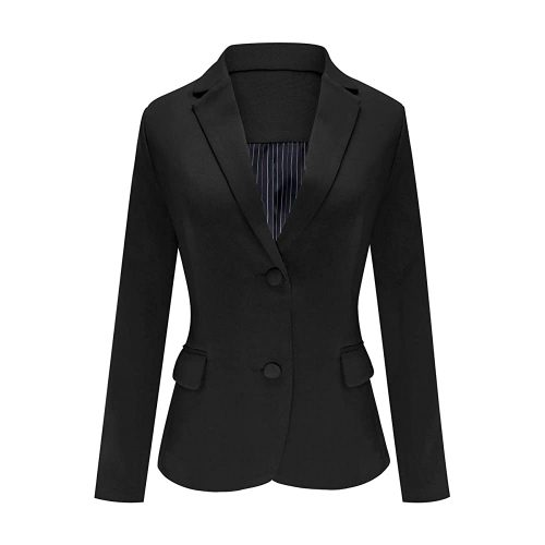 6. Luyeess Women's Casual Work Office Notch Lapel | Black Blazer For Women