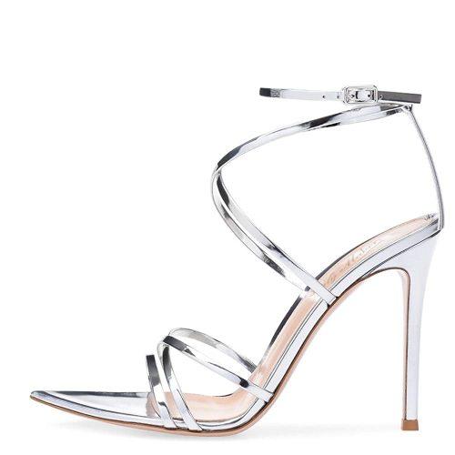 9. Onlymaker Women's Sexy Ankle Strap Gladiator | Silver Heels
