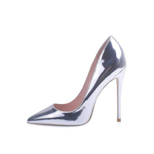 2. Elisabet Tang High Heels, Women's Pointed Toe Slip-on | Silver Heels