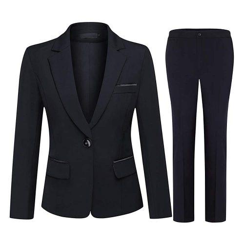 9. Yunclos Women's 2 Piece Office Lady Business | Black Women Suits