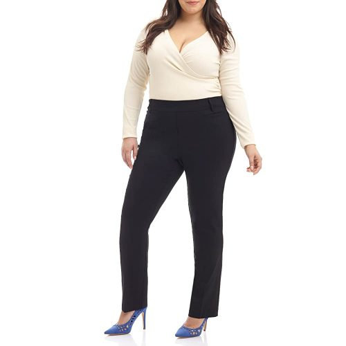 1. Rekucci Curvy Woman Ease into Comfort plus Size Straight Pant w/Tummy Control