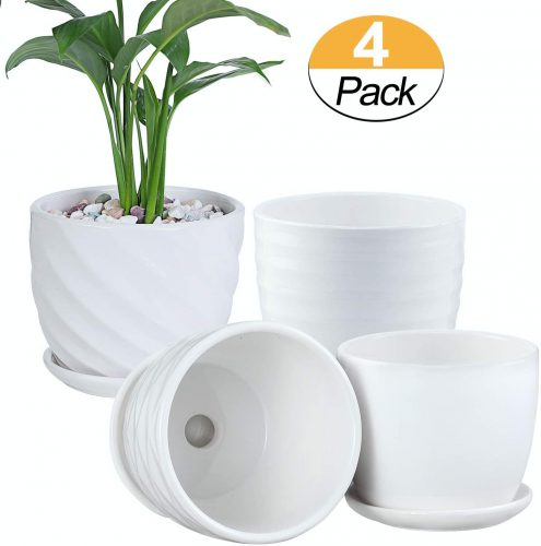 6. Plant Pots - 4.7 Inch Cylinder Ceramic Planters