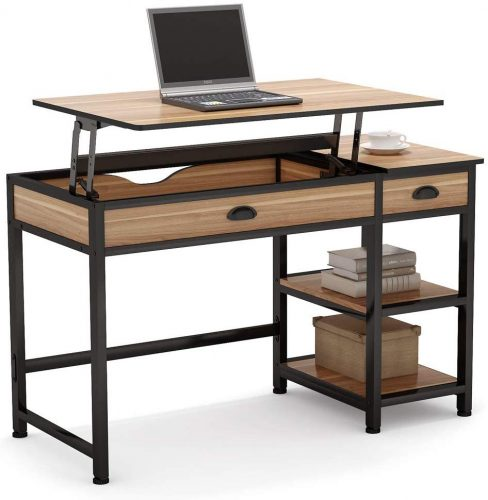 3. Tribesigns Rustic Lift Top Computer Desk with Drawers