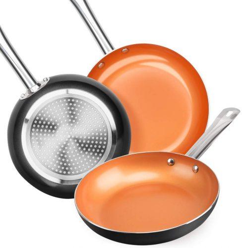 9. SHINEURI Nonstick Ceramic Copper Pan Set| Saute Pan
