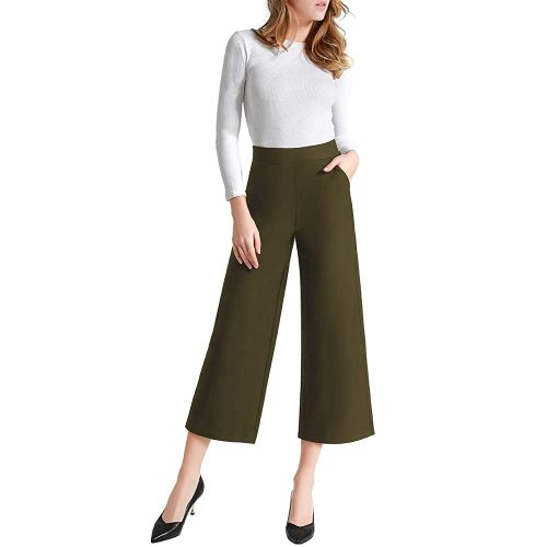 Useful Women's Casual Loose Wide Leg Pants Pull-On Dress Pant