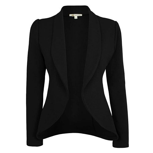 7. Michel Women's Blazer Lightweight Open Front Draped | Black Blazer For Women