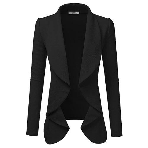 8. Doublju Classic Draped Open Front Blazer for Women | Black Blazer For Women