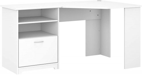 1. Bush Furniture Cabot 60W Corner Desk, White