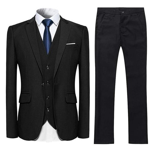 2. YFFUSHI men's 3 Piece Suit Slim Fit One Button Solid Color Formal Suit.