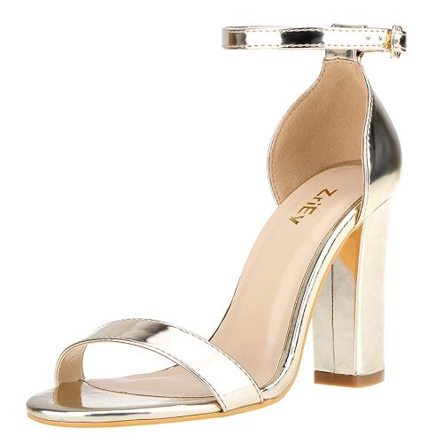 9. ZriEy Women's Chunky Block Heeled Sandals