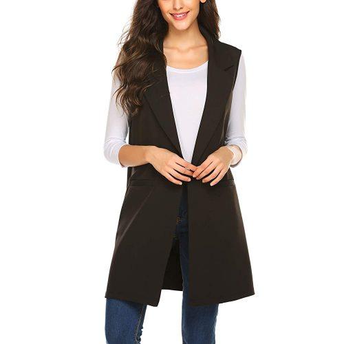 4. Meaneor Long Vest for Women, Long Sleeveless