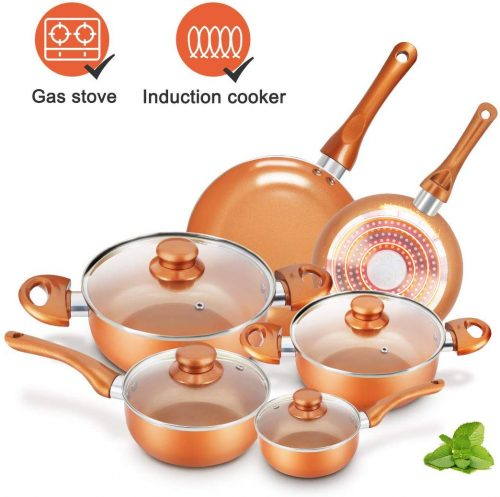 2. Cookware-Set Nonstick Pots and Pans-Set Copper pan
