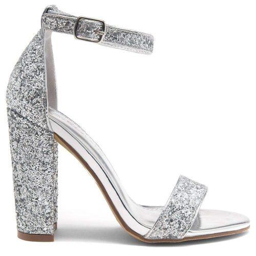 5. Herstyle Rosemmina Women's Open Toe Ankle Strap | Silver Heels