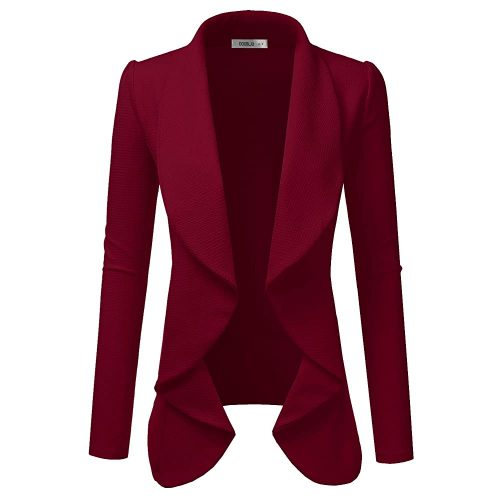 3. Doublju Classic Draped Open Front Blazer for Women | Red Blazers For Women
