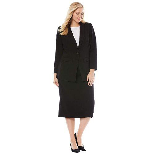 2. Jessica London Women's Plus Size Single-Breasted Skirt suit | Black Women Suits