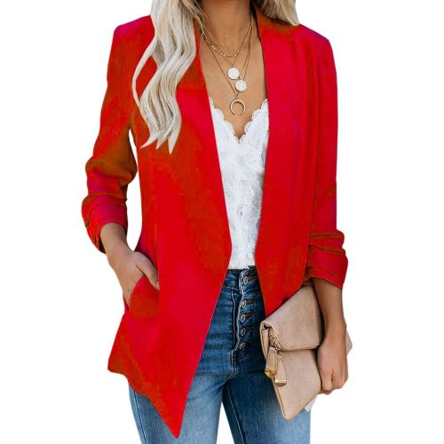 1. Ofenbuy Women's Casual Blazer Ruched | Red Blazers For Women