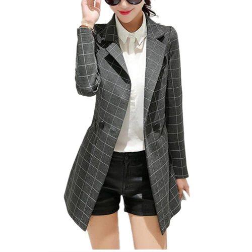 9. Women's Vintage Check Plaid Long Sleeve Casual Long Jacket Blazer