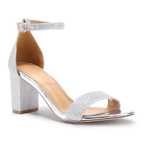 10. SHOWHOW Women's Ankle Strap Chunky High Heel| Silver Heels