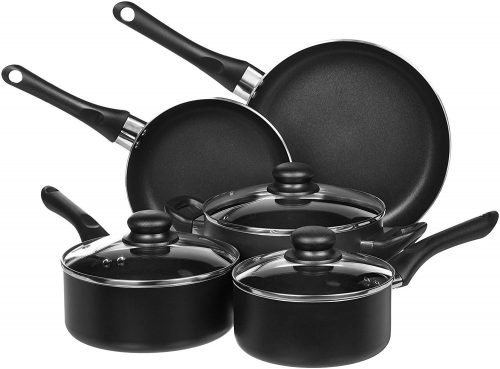1. AmazonBasics 8-Piece Non-Stick Kitchen Cookware Set, Pots and Pans