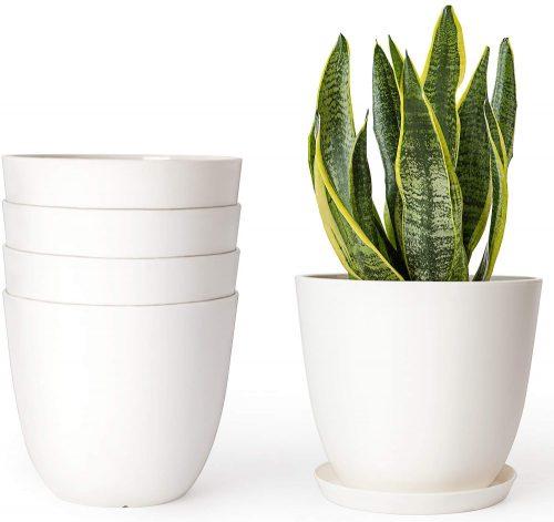 4. Mkono 6.5 Inch Plastic Planters Indoor Set
