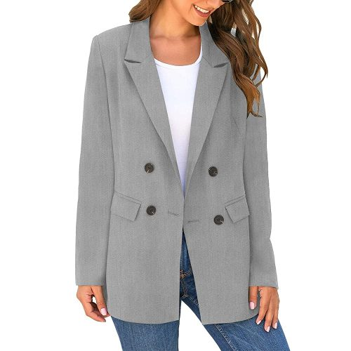 2. LookbookStore Women's Casual Check Plaid Loose Buttons Work Office Blazer Suit