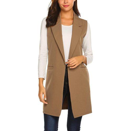 9. Showyoo Women's Vest Casual Lapel Blazer Jacket