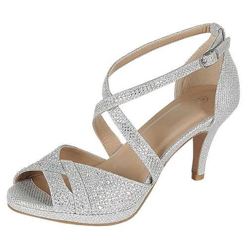 4. Cambridge Select Women's Peep Toe Crisscross | Silver Heels
