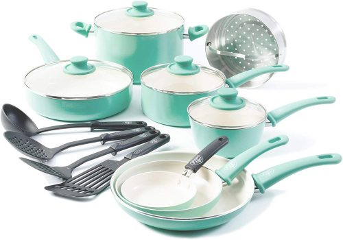 3. GreenLife Soft Grip 16pc Ceramic Non-Stick Cookware Set