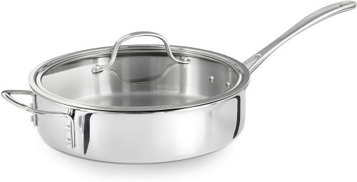 10. Calphalon Tri-Ply Stainless Steel 3-Quarts Saute Pan with Cover | Saute Pan