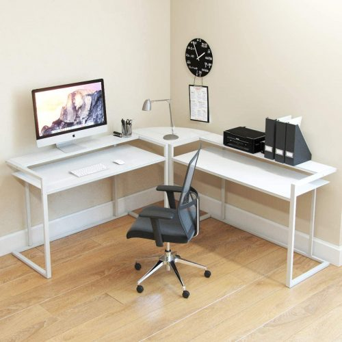7. Ryan Rove Belmac Glass Large Modern L-Shaped Desk