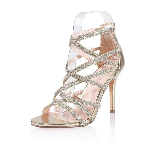 7. JSUN7 Women's Fashion Stiletto High Heel Sandal Pump Shoe | Silver Heels