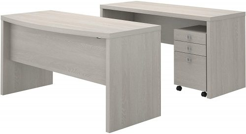 9. Office Front Desk and Credenza with Mobile File Cabinet in Gray Sand