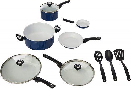 3. Farberware 17490 Ceramic Cookware Pots and Pans Set