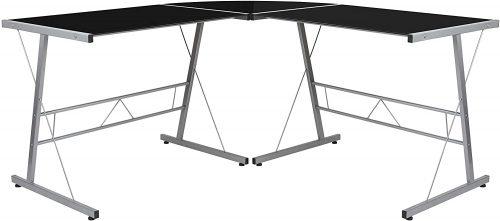 8. Flash Furniture Black Glass L-Shape Corner Computer Desk