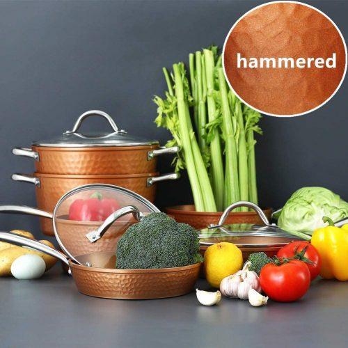 8. Benecook 10 Piece Hammered Kitchen Cookware Sets