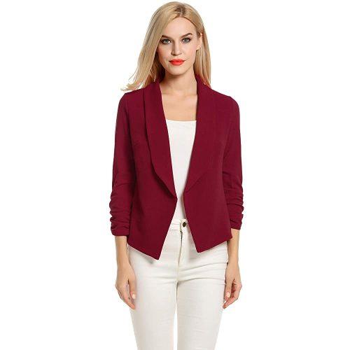 2. POGTMM Women 3/4 Sleeve Blazer| Red Blazers For Women