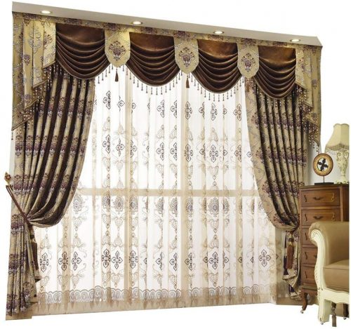 Queen's House Luxury Baroque Pattern Window Curtains