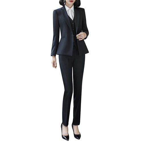 3. Lisueyne Women's Three Pieces Blazer Suit - Black Women Suits | Black Women Suits